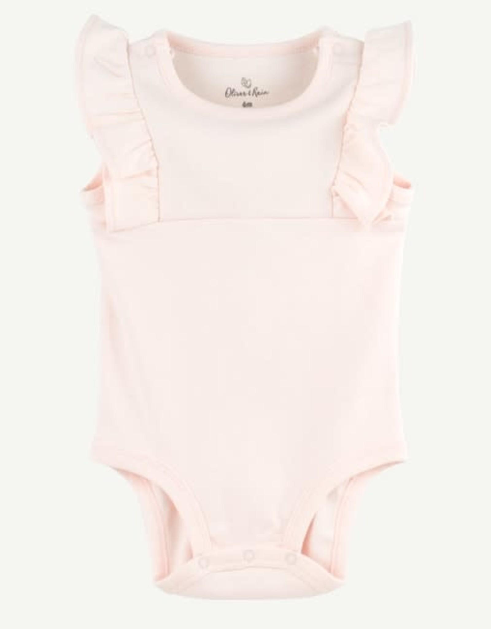 Oliver & Rain Blush Flutter Sleeve Pima Cotton Bodysuit