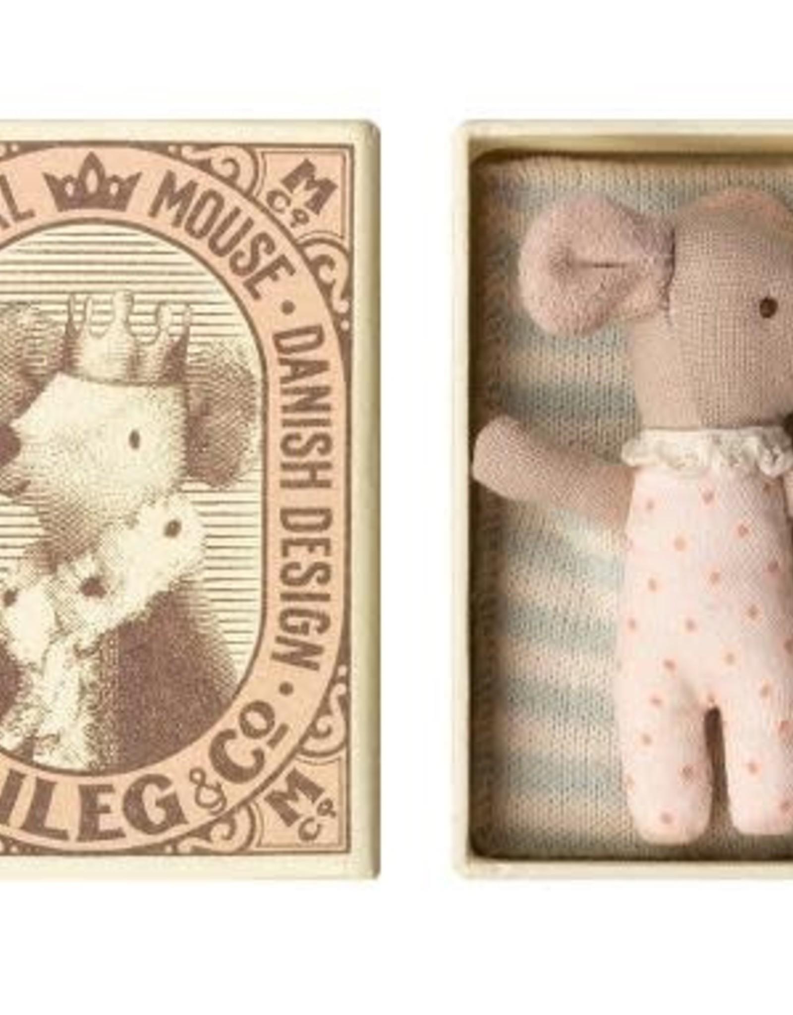 Maileg Sleepy-Wakey Mouse in box, girl