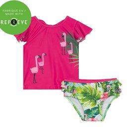 Deux par Deux Two Piece Swimsuit AOP Flamingo