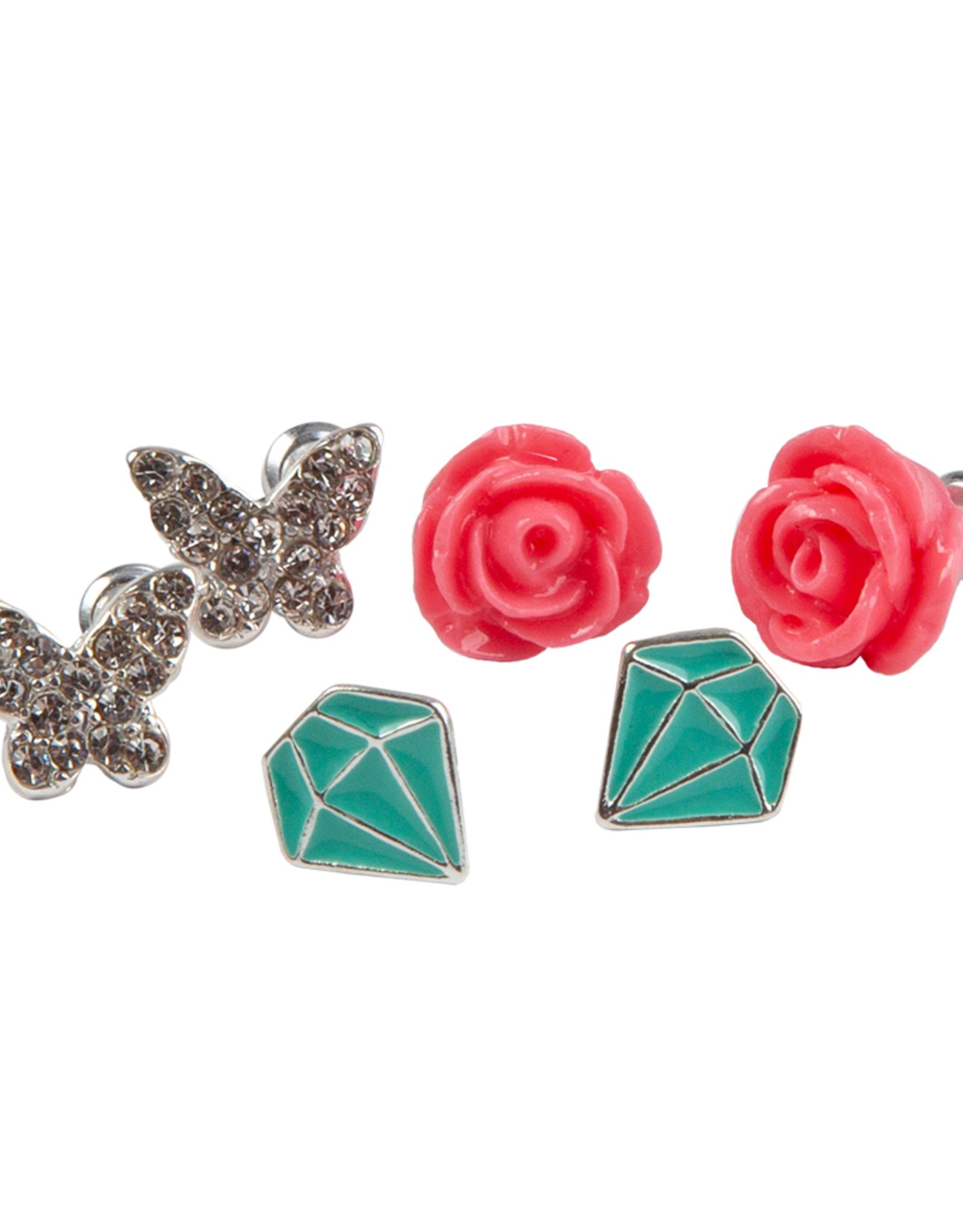 Great Pretenders Rose Studded Earrings, set of 3