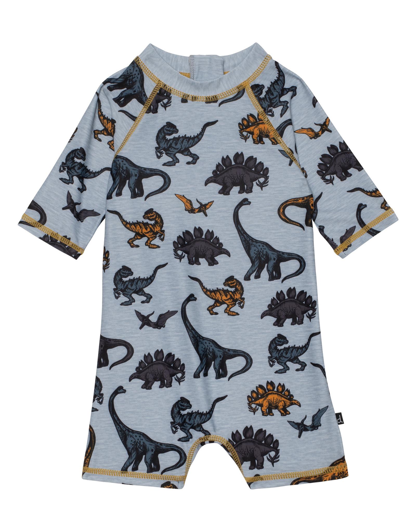 Deux par Deux 3/4 Sleeve Dinosaur Romper Swimsuit