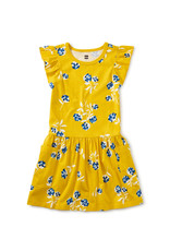 Tea Flutter Sleeve Pocket Dress, Flower Bunches in Sulphur