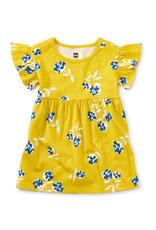 Tea Ruffle Sleeve Baby Dress, Flower Bunches in Sulphur