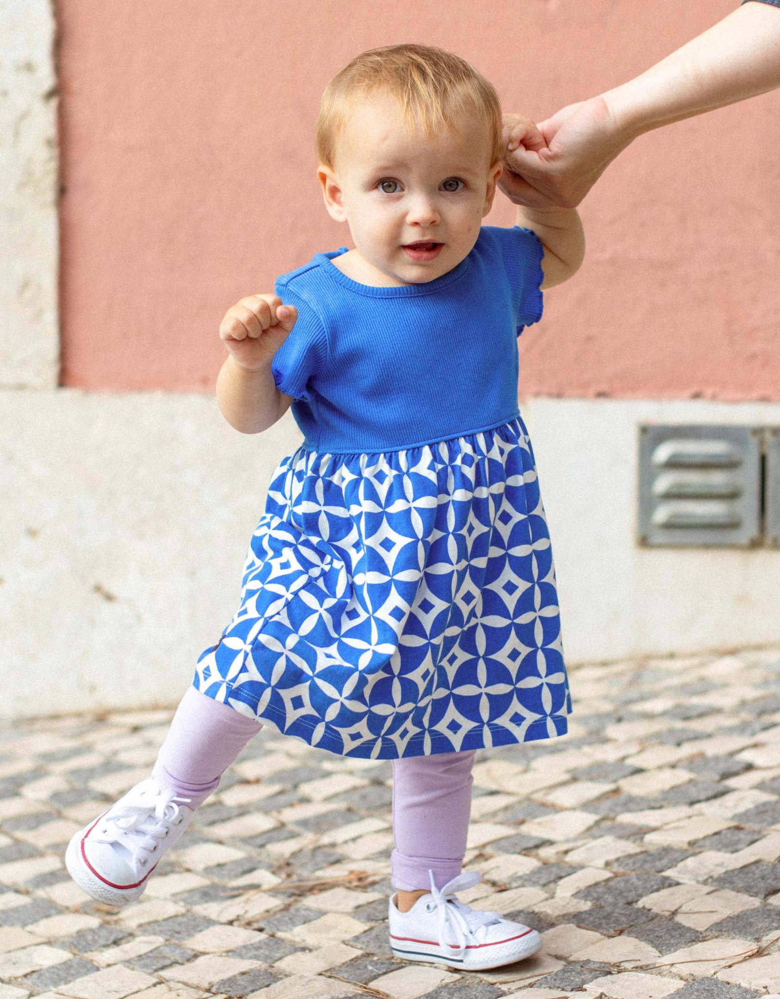 Tea Print Mix Full Skirt Dress, Azulejos