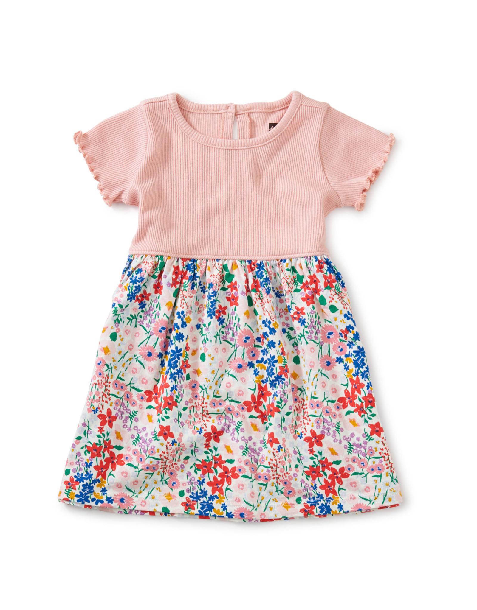 Tea Print Mix Full Skirt Dress, Garden Chalk
