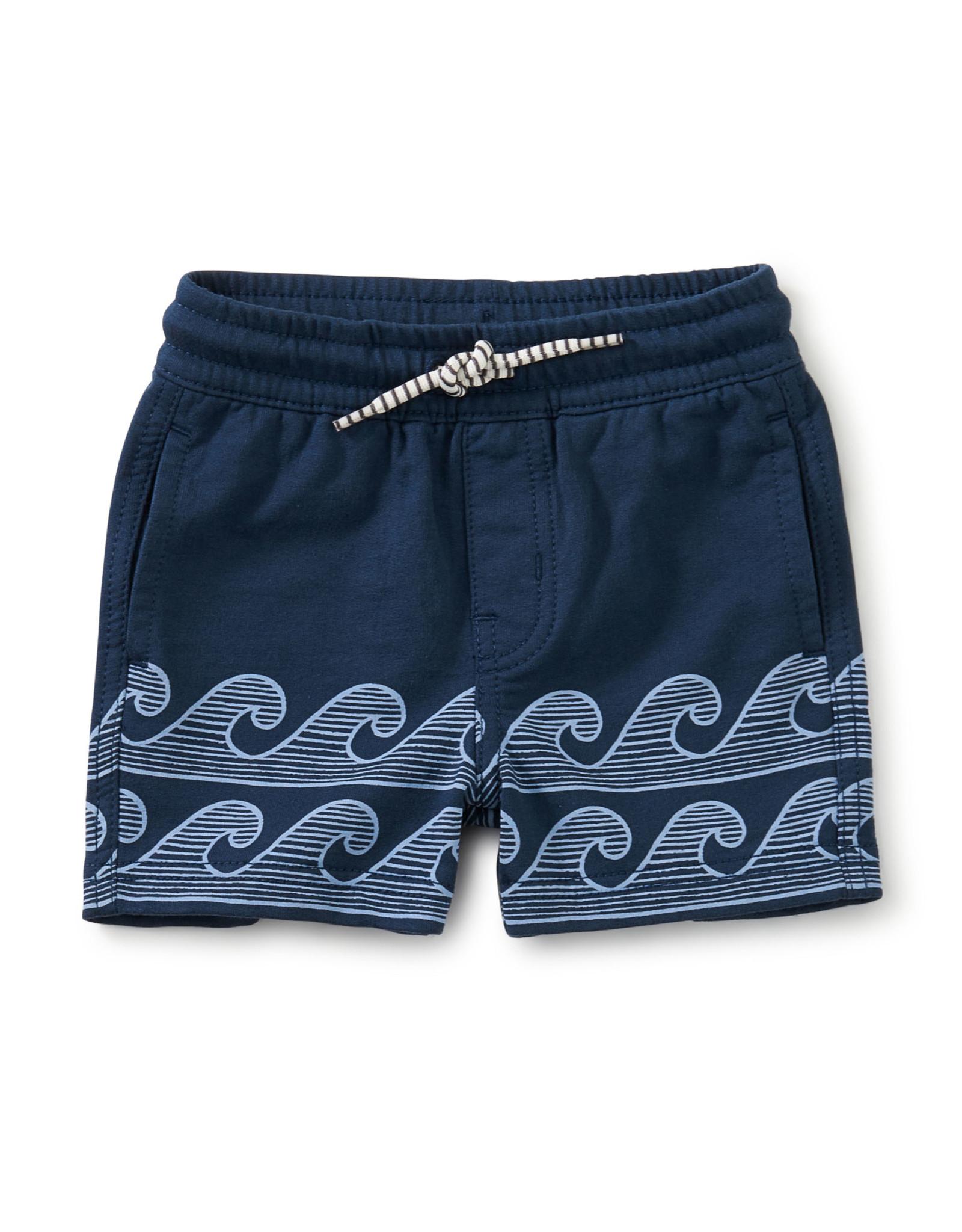 Tea Knit Beach Baby Shorts, Whale Blue