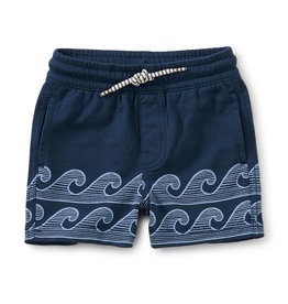 Tea Knit Beach Baby Shorts, Whale Blue