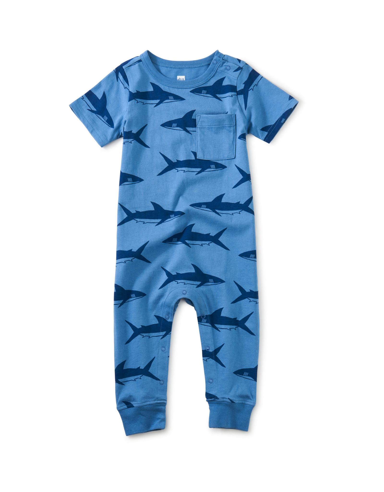 Tea Pop Pocket Baby Romper, Bull Shark