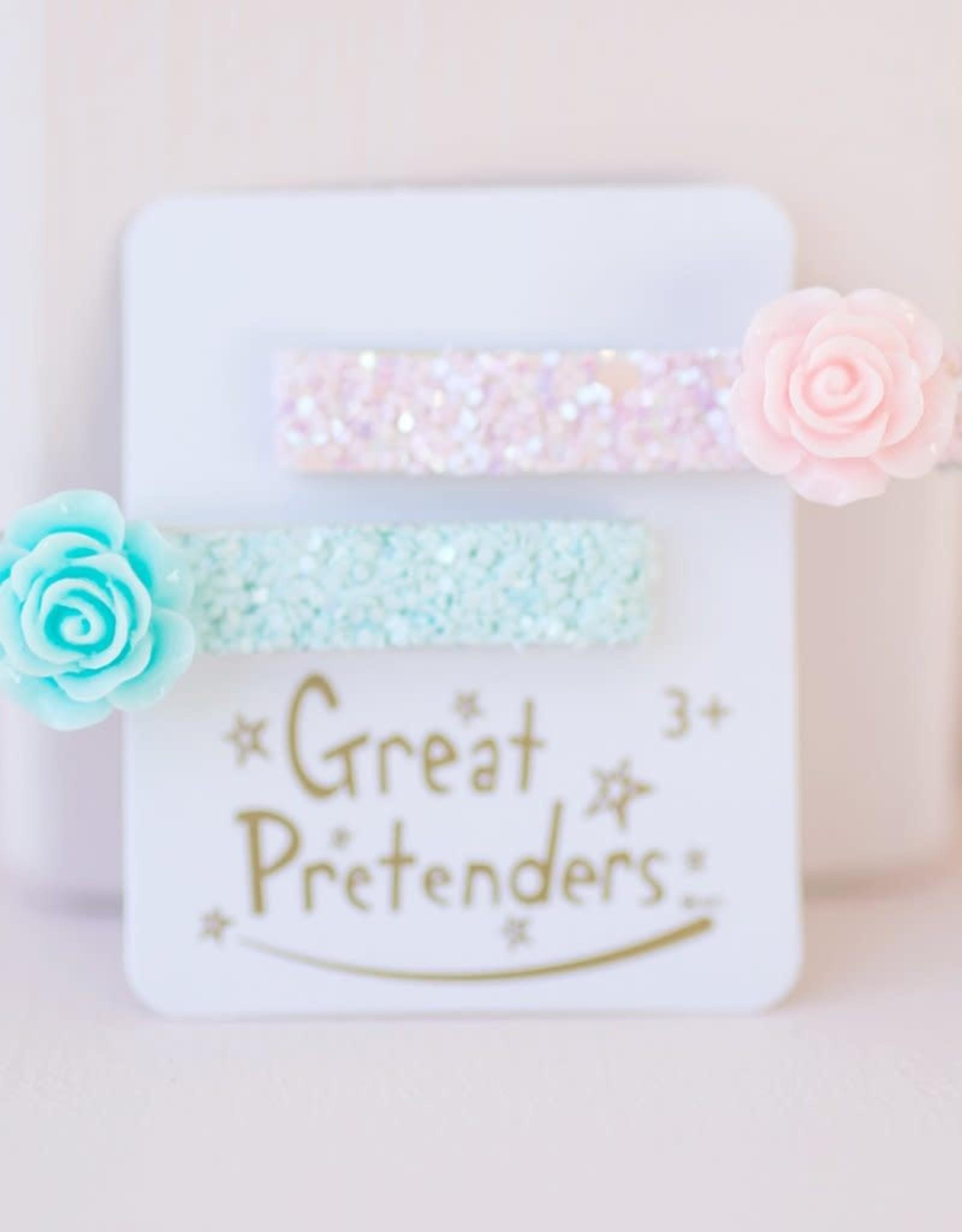 Great Pretenders Glitter Rosette Hair Clips