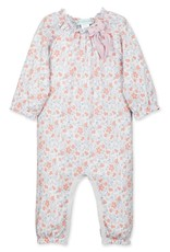 Feather Baby Isabella Bow Romper, Cantaloupe on White