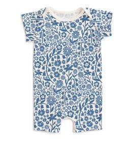 W W F  Summer Romper, Spring Floral Delft Blue