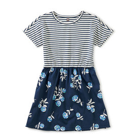 Tea Print Mix Twirl Dress, Flower Bunches in Whale Blue