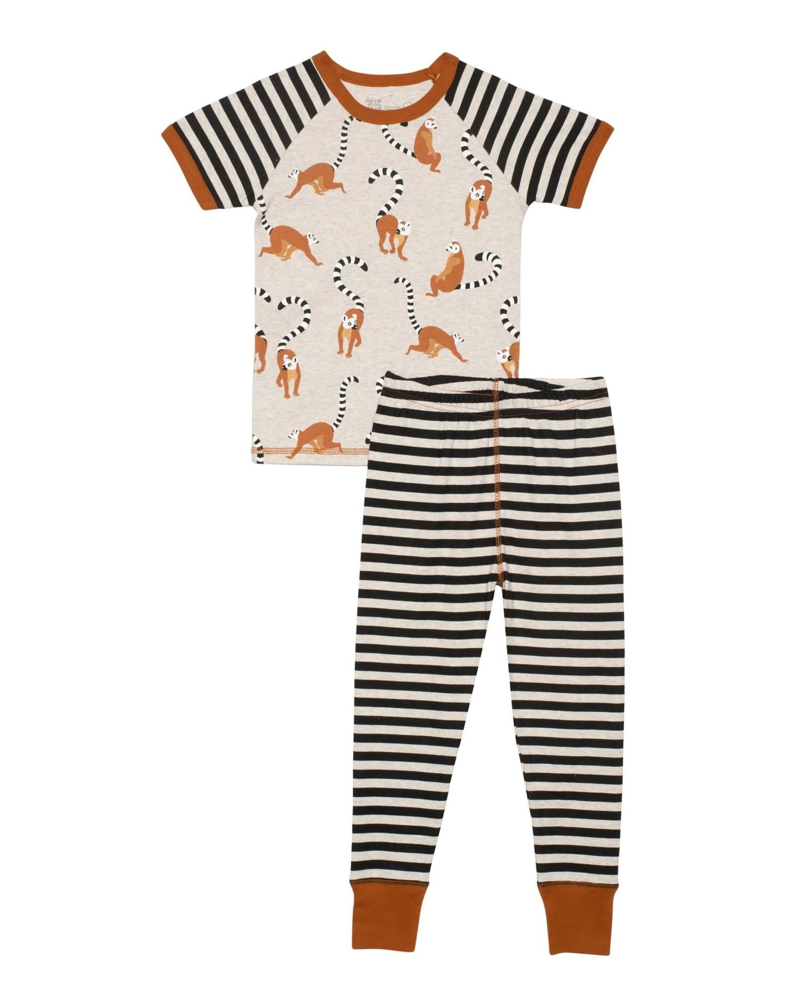 Deux par Deux Organic Cotton Lemur Print 2 pc Pajama