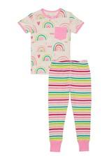 Deux par Deux Organic Cotton Rainbow Print 2 pc Pajama