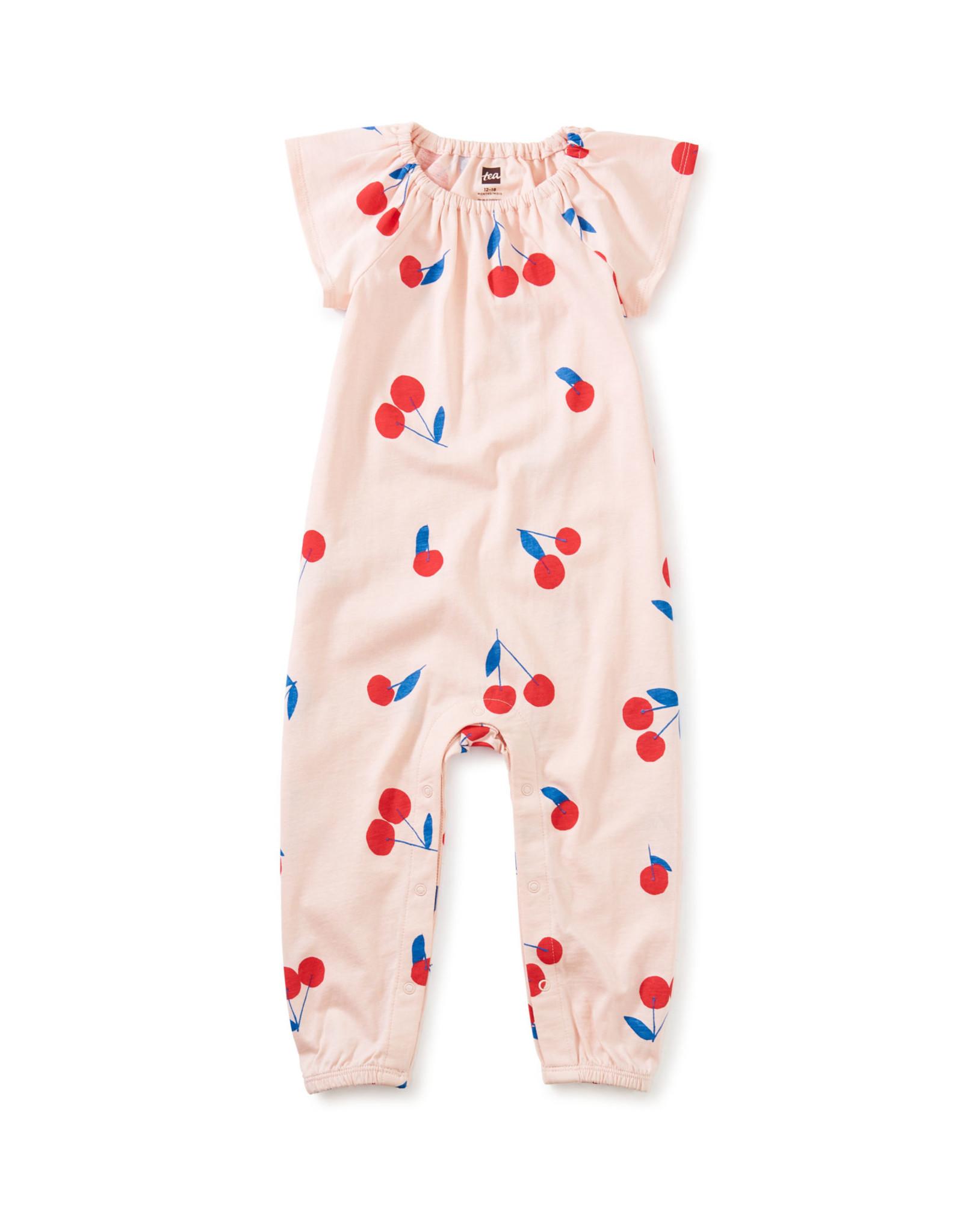 Tea Flutter Sleeve Baby Romper, Ginja Cherry