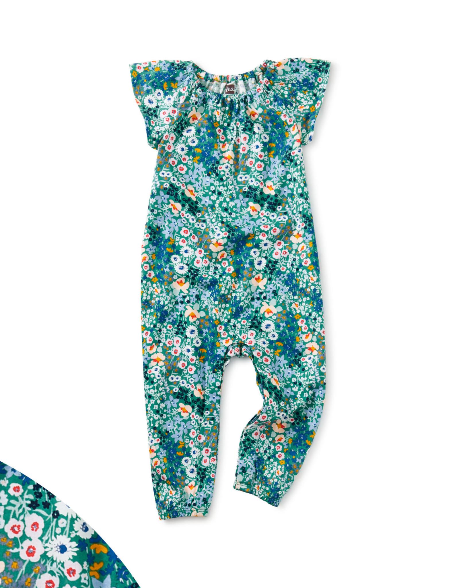 Tea Flutter Sleeve Baby Romper, Garden Greens