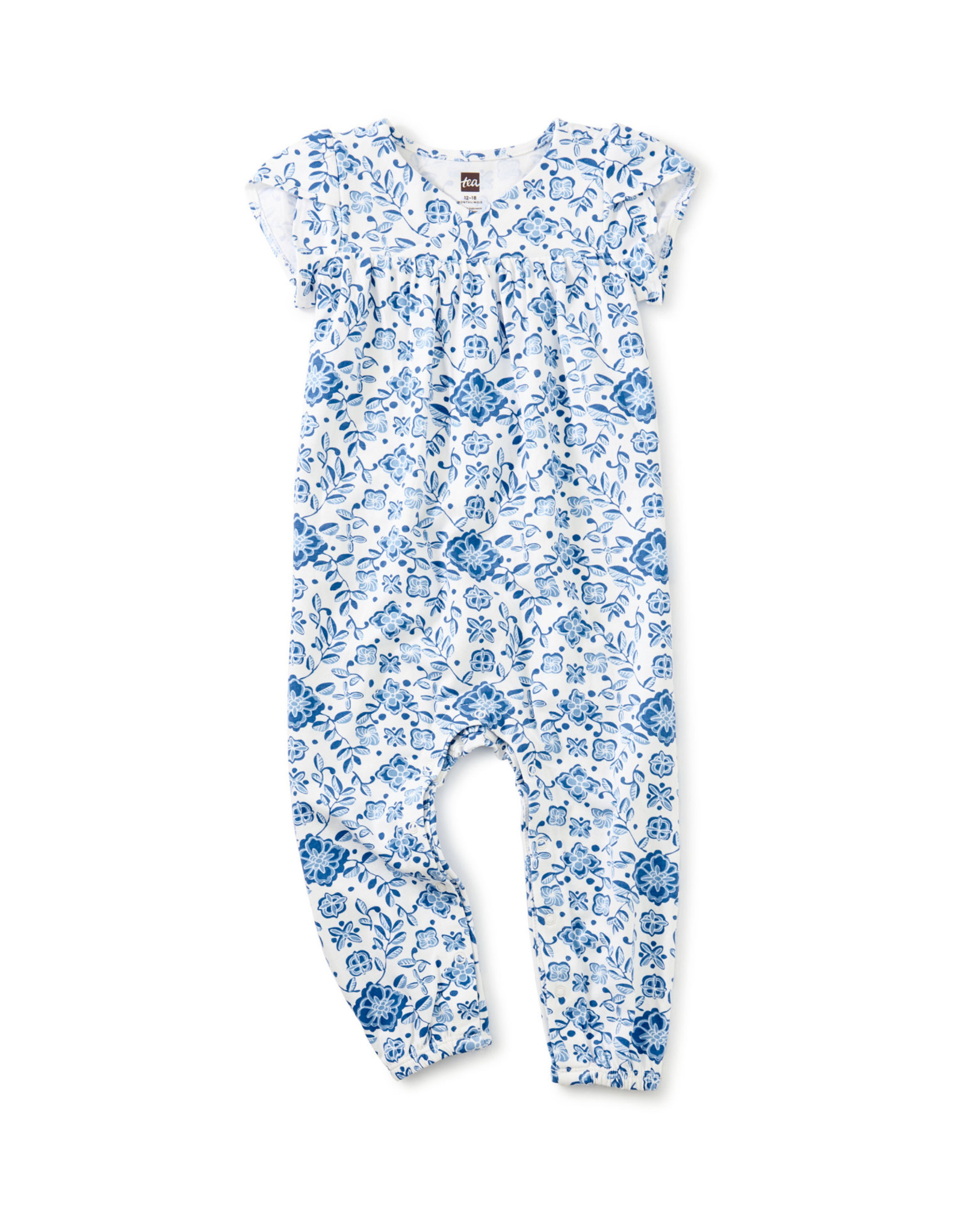 Tea Tulip Sleeve Wrap Baby Romper, Floral Azulejos