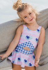 Blueberry Bay Blue Pearl Cottage 1 Piece Swimsuit