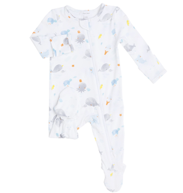 Angel Dear Baby Shark Zipper Footie, White
