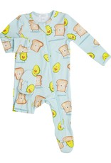 Angel Dear Avocado + Toast Zipper Footie, Blue
