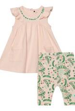 Deux par Deux Dress and Legging Set - Light Peach/Green