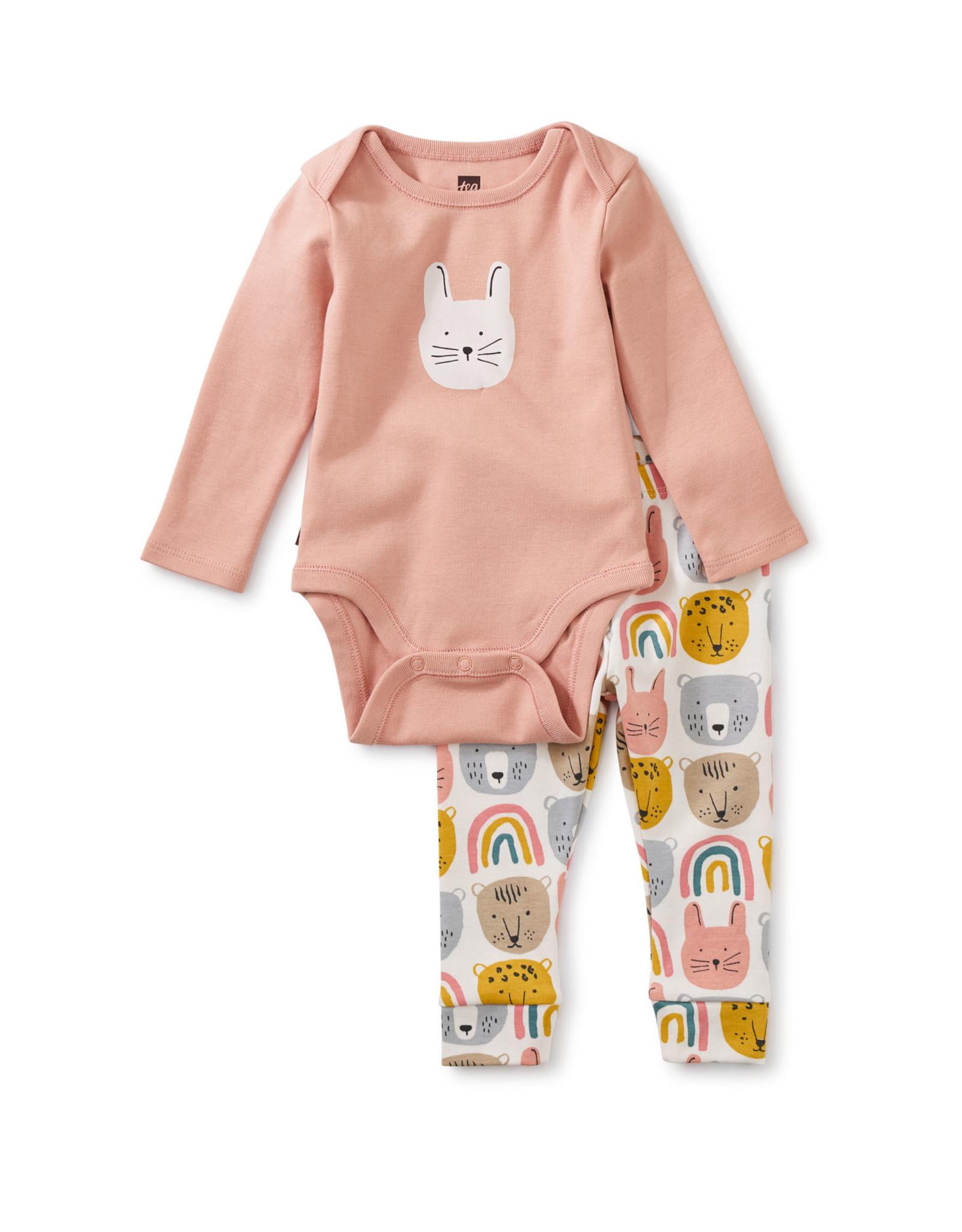 Tea Bodysuit Baby Outfit, Rainbow Animals