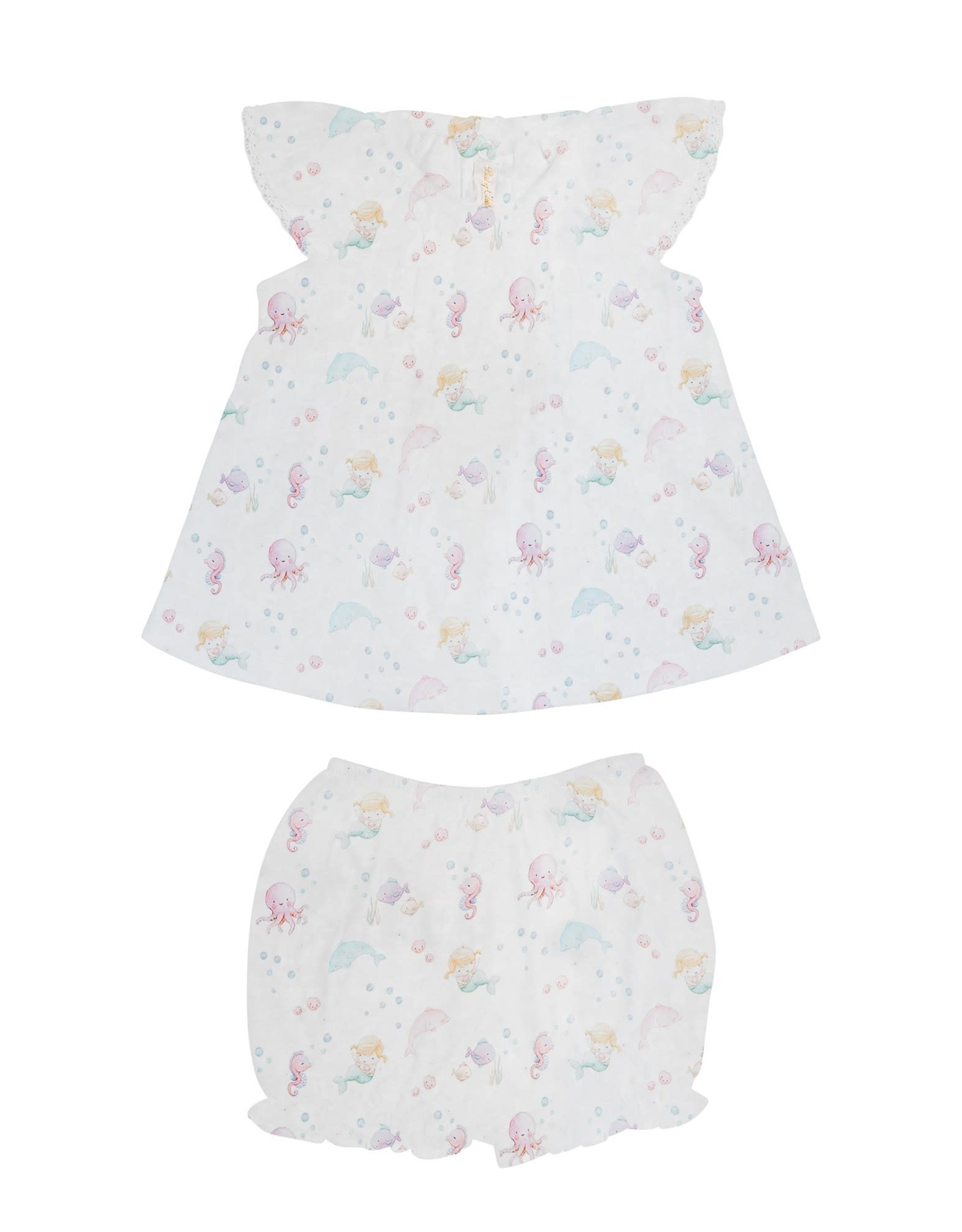 Baby Club Chic Under the Sea Pink Blouse & Bloomer Set