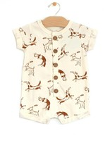 City Mouse Jersey Button Romper, Dogs