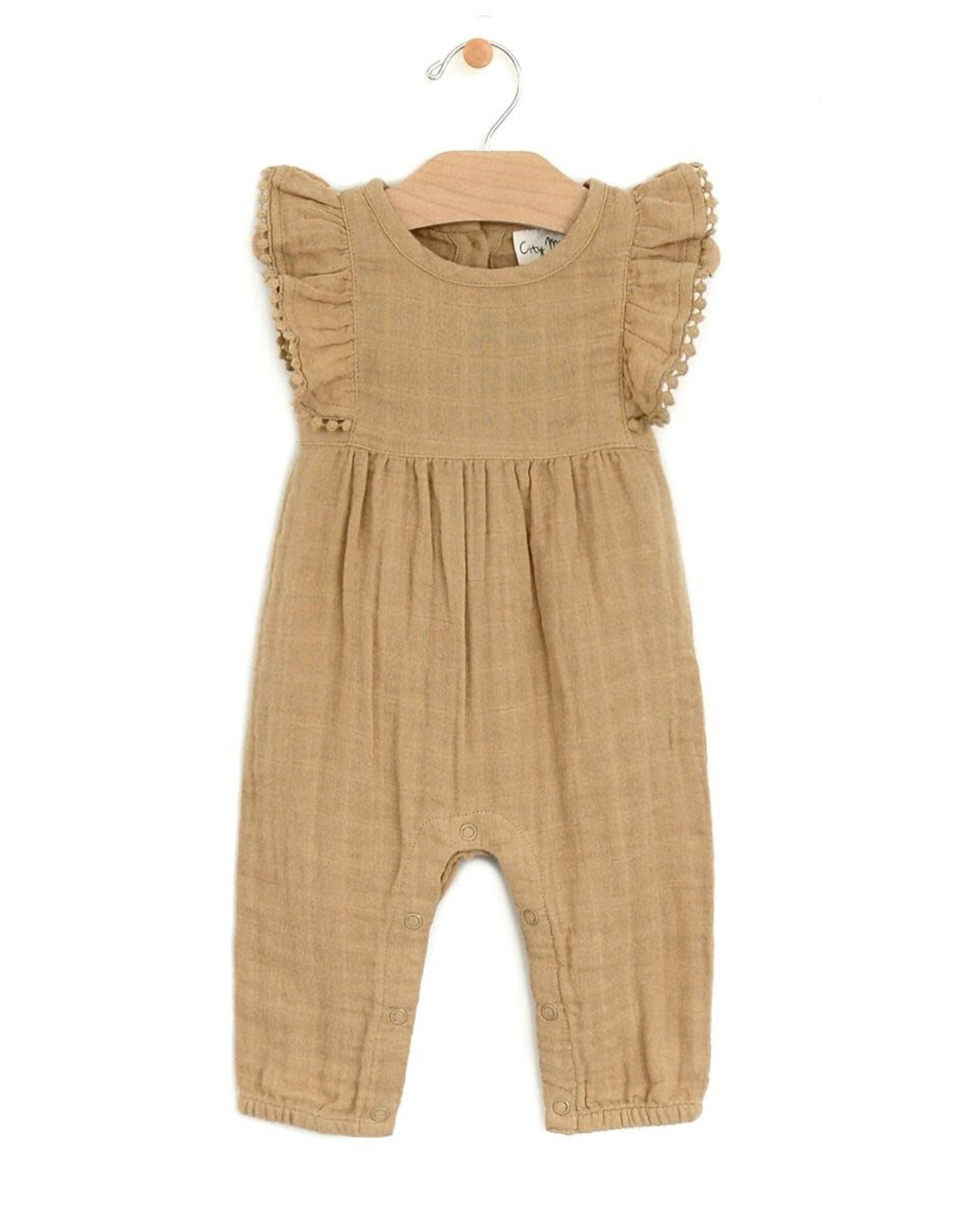 City Mouse Muslin Frill Long Romper, Gold