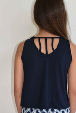 Area Code 407  Navy Triad Tank Top, 3 Back Straps