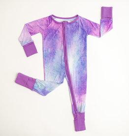 Little Sleepies Purple  Watercolor Bamboo Convertible Romper