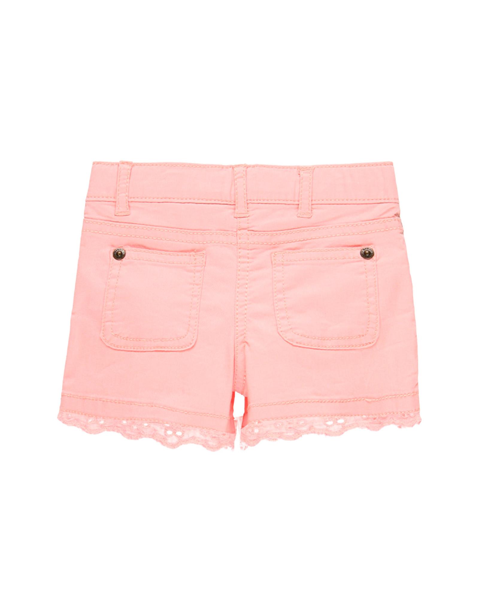 Boboli Stretch Shorts, Pink with Lace Trim