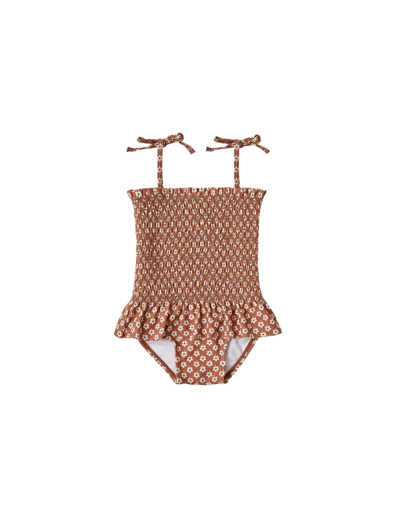 Rylee + Cru Smocked Skirted One Piece Swimsuit, Flower Power