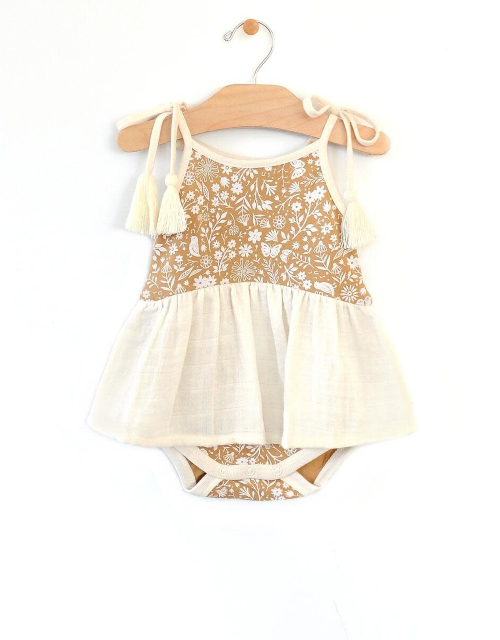 City Mouse Rib & Muslin Skirted Tank Bodysuit, Gold Garden
