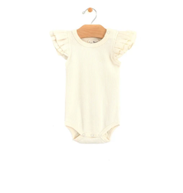 City Mouse Rib Flutter Sleeve Bodysuit, Natural