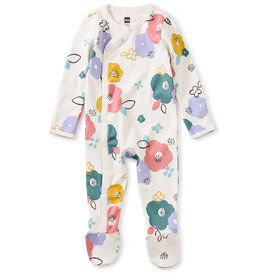 Tea Footed Baby Romper, Floral
