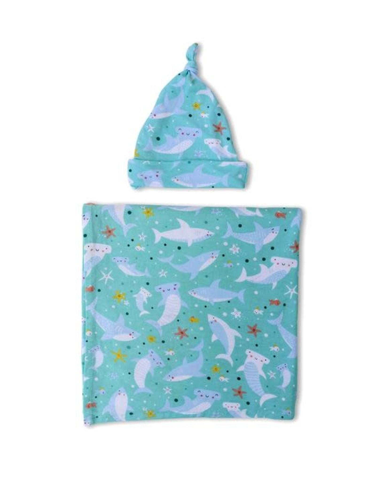 Little Sleepies Sharks Soiree Swaddle & Hat Gift Set