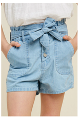 Hayden Girls Belted High-Rise Paperbag Shorts- Lt Denim