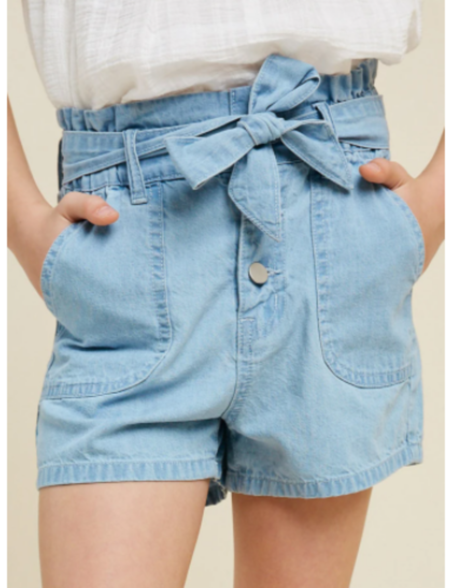 Hayden Girls Hayden Girls Belted High-Rise Paperbag Shorts- Lt Denim