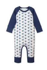 Feather Sailor-Sleeve Romper, Fin Whale on White