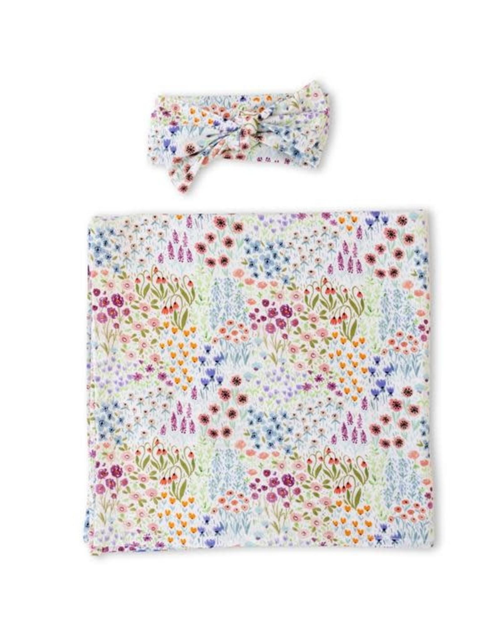 Little Sleepies Flower Fields Swaddle & Headband Gift Set