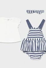 Mayoral Dress, Bodysuit and Headband Set, Navy Stripe
