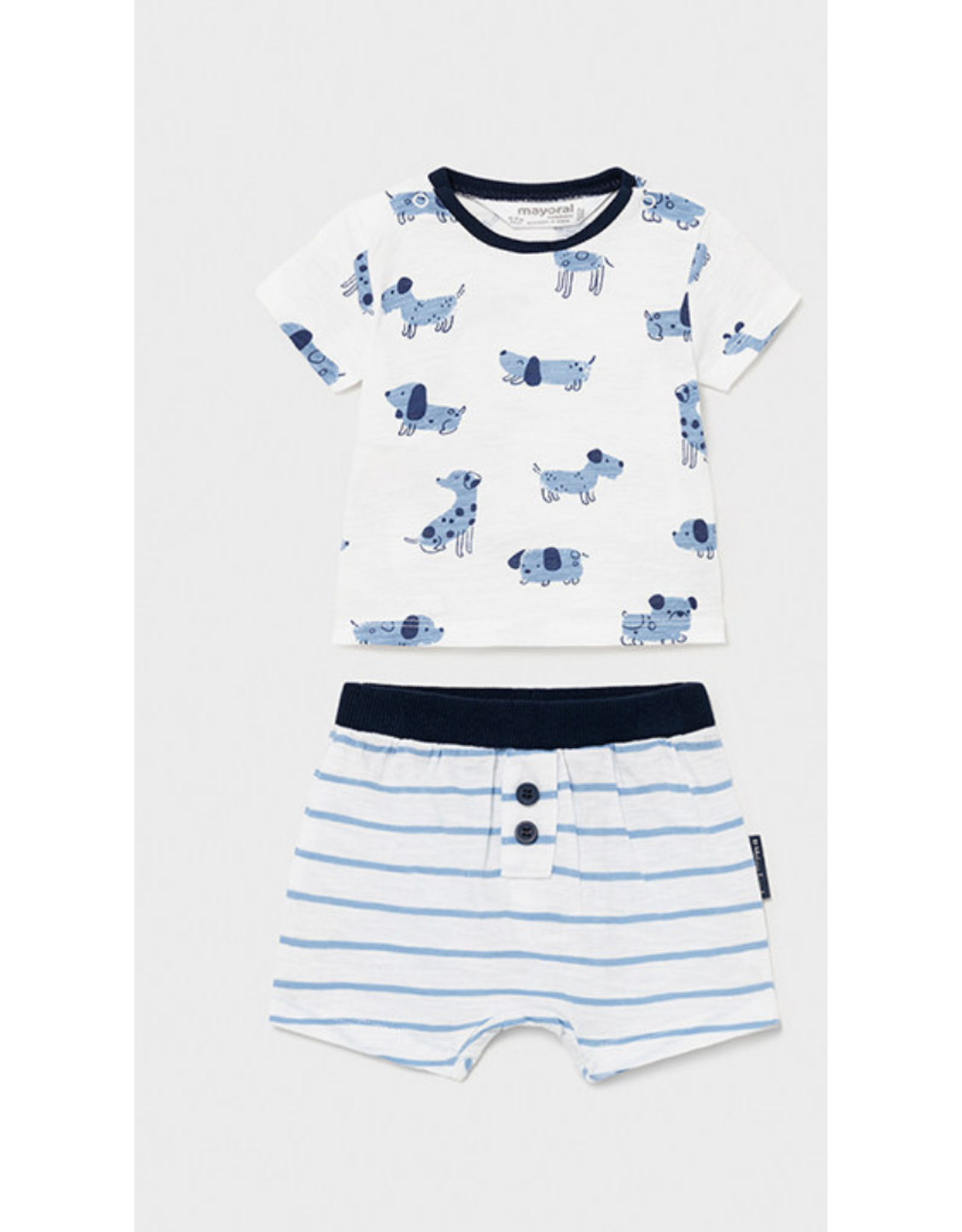 Mayoral Shirt & Shorts Set, Dogs Print Blue