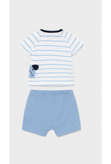 Mayoral Shirt & Shorts Set, Dogs Stripe, Blue