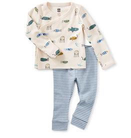 Tea Wrap Top Baby Outfit, Sea Life
