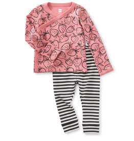 Tea Wrap Top Baby Outfit, Strawberries
