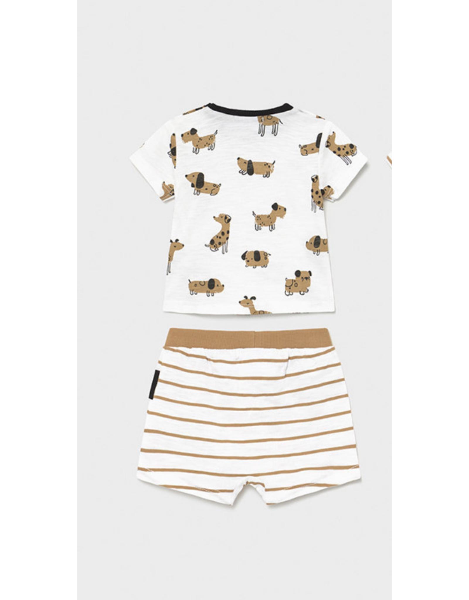 Mayoral Shirt & Shorts Set, Dogs Print Brown