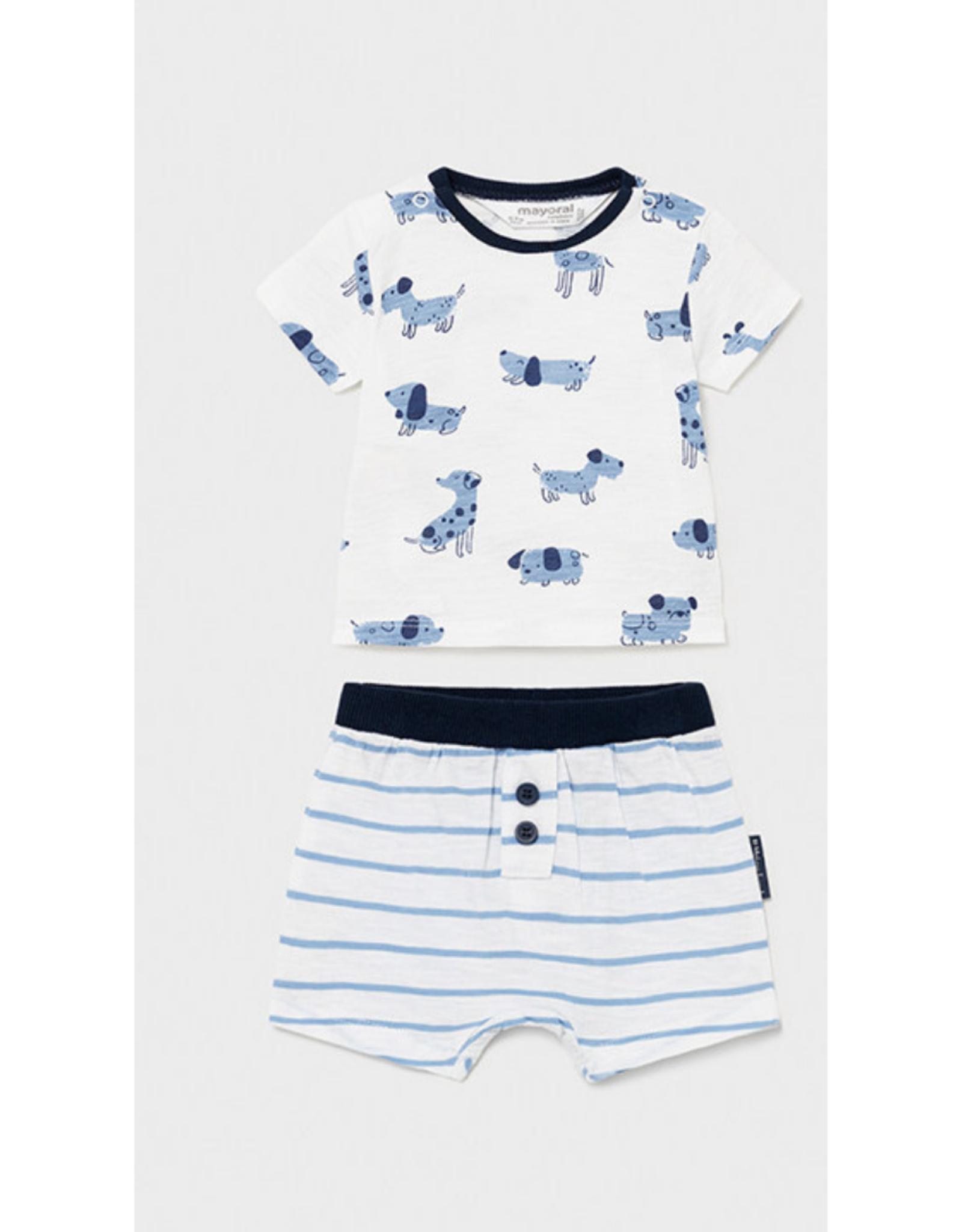 Mayoral Shirt & Shorts Set, Dogs Print Blue
