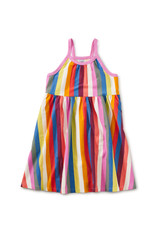 Tea Spaghetti Strap Trapeze Dress, Vibrant Stripe