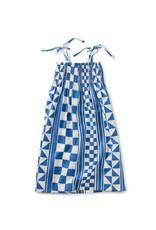Tea Tie Shoulder Midi Dress, Mosaic Cobblestone in Blue Yar